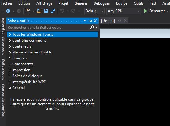 Boite à outils de Visual Studio 2017