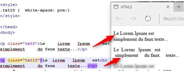 Pour conserver les espaces multiples entre les mots, il faut utiliser du code CSS