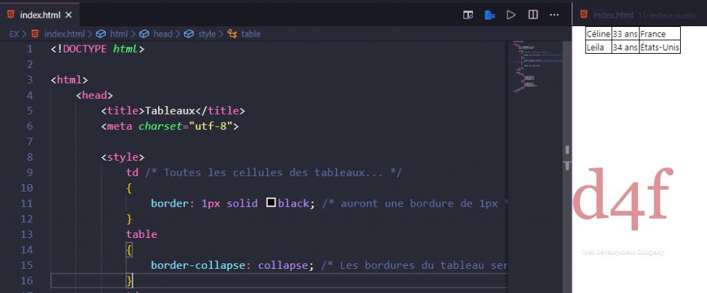Style de tableau (HTML & CSS)